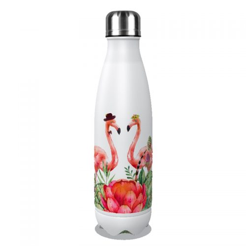 Gourde inox isotherme Flamant Rose 500 ml Blanc