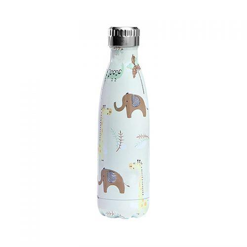 Gourde inox isotherme Elephant Girafe 500 ml Blanc